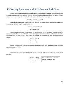 solving equations with variables on both sides 8th 9th grade worksheet lesson planet