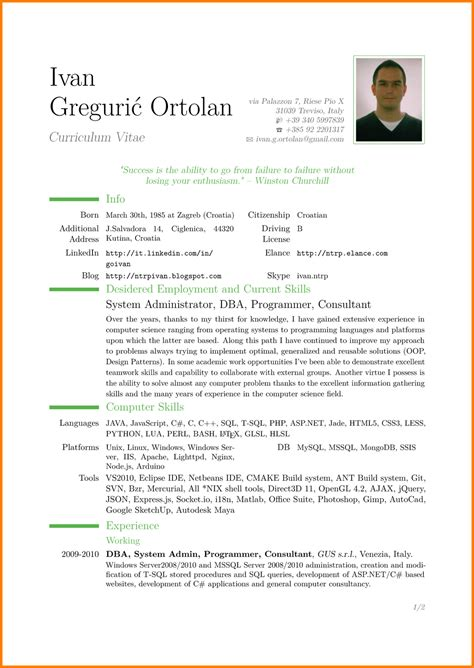 How To Do A Cv Template by Cv Model Model Cv Psco