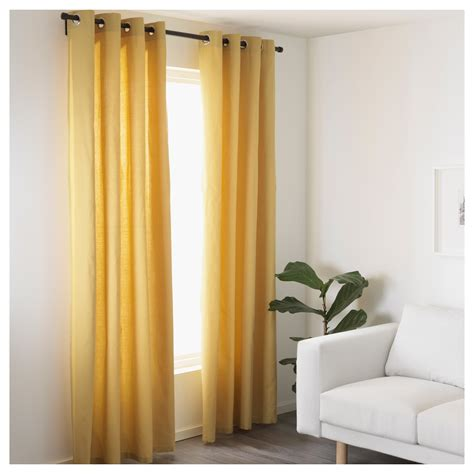 Mariam Curtains, 1 Pair Yellow 145x250 Cm Ikea