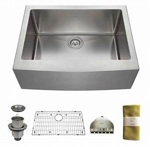 zuhne 24 inch farmhouse apron deep single bowl 16 gauge With 24 inch stainless steel farmhouse sink