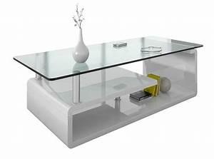 Table Salon Blanc Laqué : salon table basse plateau verre comforium ~ Teatrodelosmanantiales.com Idées de Décoration