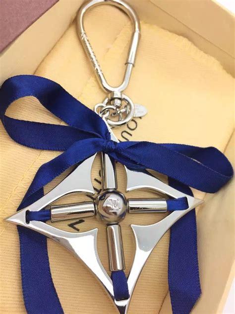 louis vuitton ribbon bag charm key chain  royal blue silver    replica