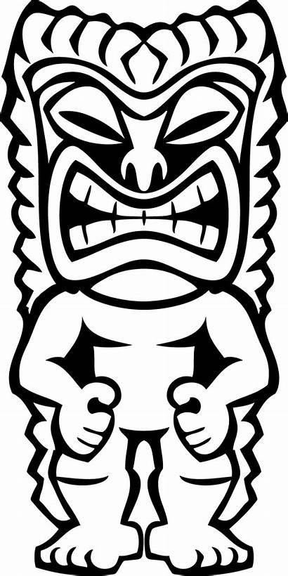 Tiki Luau Clip Pages Faces Colouring Clipart