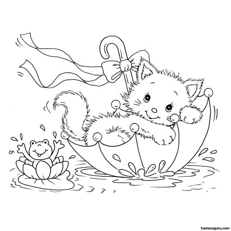 printabel coloring pages kitty cat  frog  umbrella