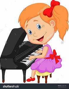 Piano clipart kid - Pencil and in color piano clipart kid