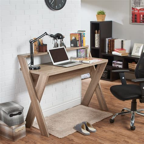 Small Light Wood Desk by Furniture Of America Intersecting Home Office Desk Light