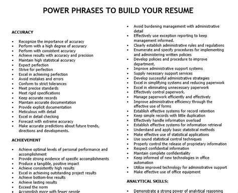 Build Your Resume by Power Phrases To Build Your Resume Hci Career