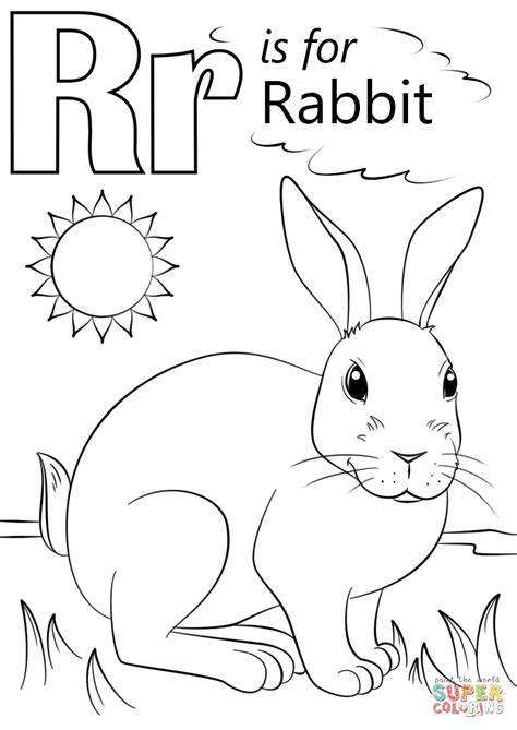 letter    rabbit coloring page  printable