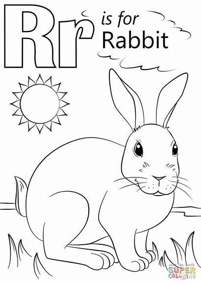 Rabbit Letter Coloring Pages Preschool Printable Alphabet