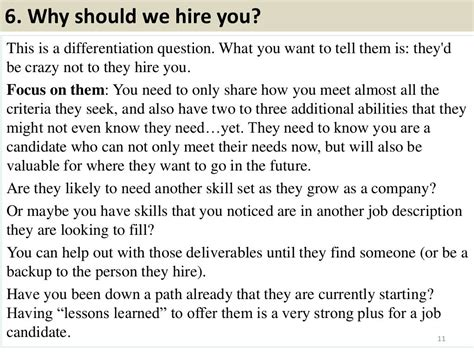 Why Should We Hire You Answers by 6 Why Should We Hire You This Is A Differentiation