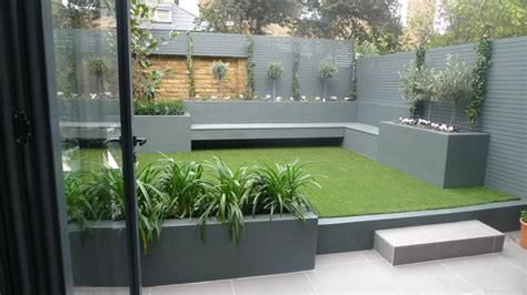 modern small  maintenance garden fake grass grey raised