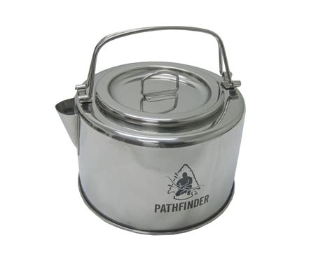 kettle camping stainless steel camp bushcraft pathfinder pot filter 2l pots bail folding cookware pans amazon