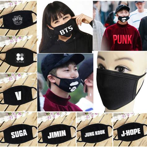kpop bts face mask mouth muffle bangtan boys wings letters
