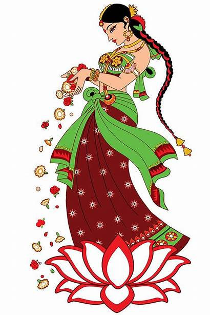 Welcome Indian Clipart Lady Flowers Hands Offering