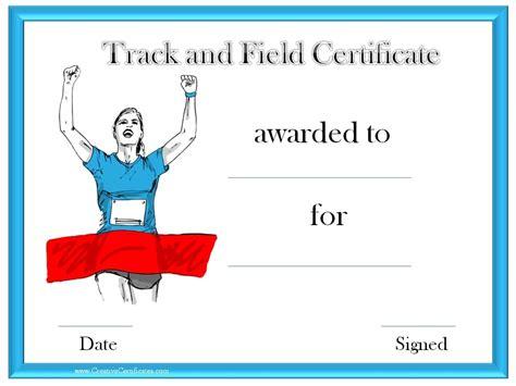 track  field certificate templates  customizable