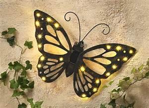 Wanddeko Für Garten : wandbild solar schmetterling leuchtende dekoration ~ Watch28wear.com Haus und Dekorationen