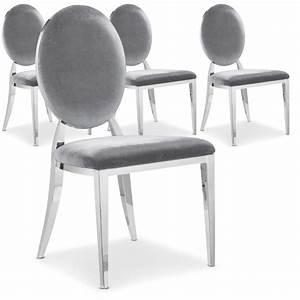Chaise Velours Gris : chaise m tal brillant assise velours gris medaillon ~ Teatrodelosmanantiales.com Idées de Décoration