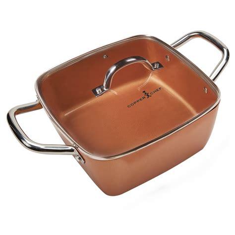 copper chef   casserole pan set  piece deep square pan  glass lid  stick