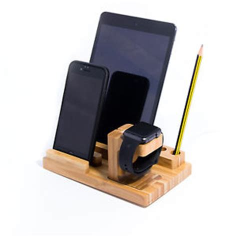 desk l with charging station 3 in 1 bamboo desk stand holder charge dock station for