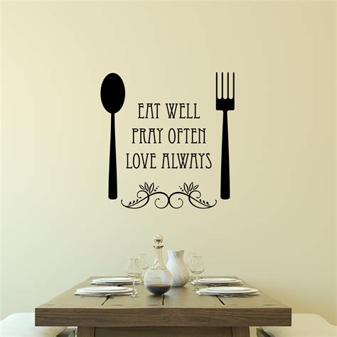 eat  spoon  fork wall quotes decal wallquotescom