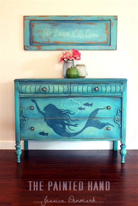 Painted Dresser  Mermaid Painted Dresser Painted
