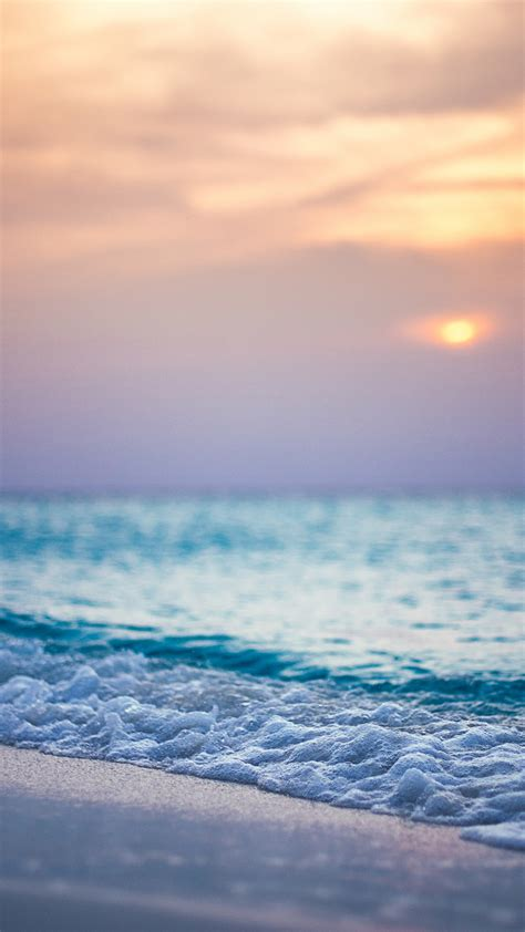 playa mar puesta del sol las olas iphone