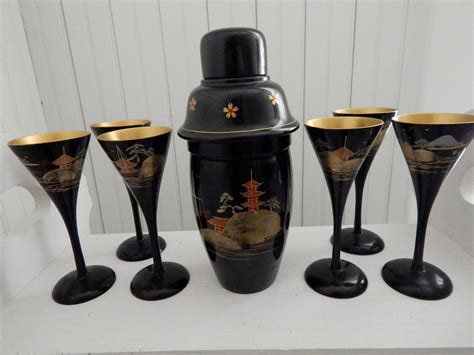 japanese barware japanese lacquer shaker and six glasses asian