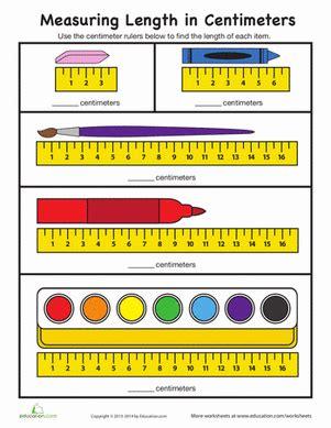 Measure In Centimeters  Worksheet Educationcom