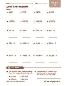 zeros   quotient practice   grade worksheet