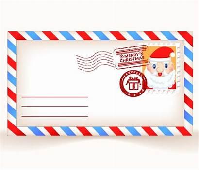 Envelope Christmas Cartoon Santa Claus Postcards Vector
