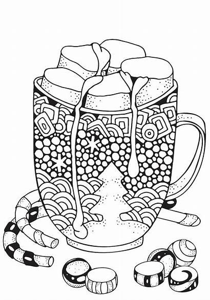 Christmas Chocolate Coloring Pages Mug Marshmallow Printable