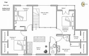 plan maison a etage 100m2 With plan de maison de 100m2