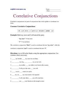 correlative conjunctions worksheet for 6th 9th grade lesson planet