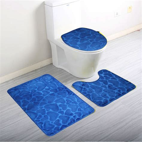 3Pcs/Set Home Bathroom Door Floor Mat Pad Set Soft Coral