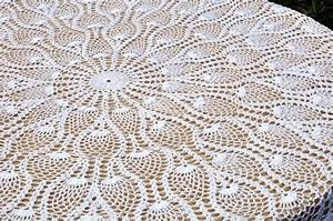 90 Inch Round Lace Crochet Tablecloth