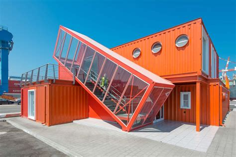 container bureau location angled shipping container houses a scissor staircase