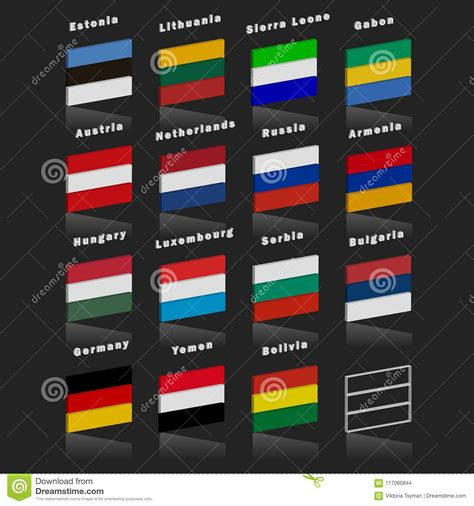 three colors flags of the countries of the world country flags of