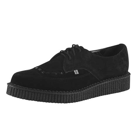 creepers p 658 t u k black suede pointed creeper