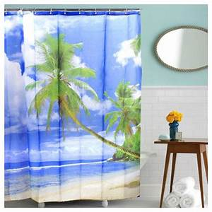 tropical palm tree summer beach polyester shower curtain With palm tree decor for bathroom
