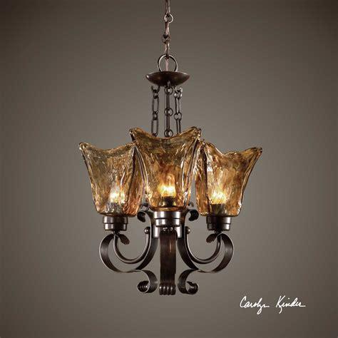 mini bronze chandelier uttermost vetraio rubbed bronze three light 16 wide