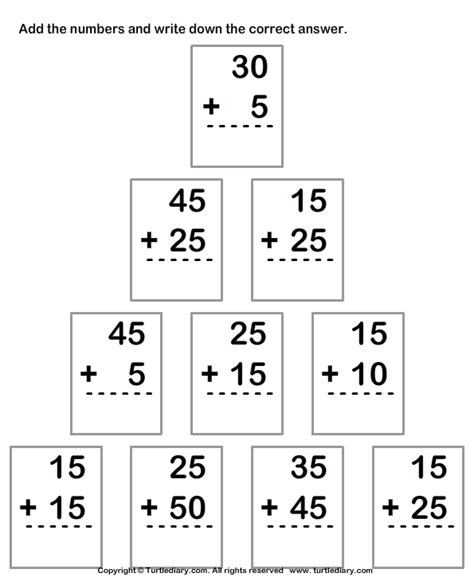 Column Addition Of Two Two Digit Numbers With Regrouping Worksheet  Turtle Diary