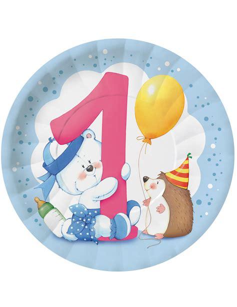 8 assiettes en teddy 1 an gar 231 on 23 cm d 233 coration anniversaire et f 234 tes 224 th 232 me sur