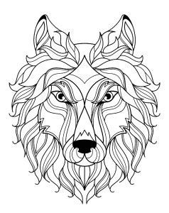 wolves coloring pages  adults