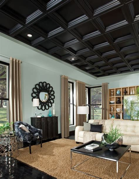 Armstrong Suspended Ceiling Details by Coffer Black Easy Elegance Coffered Black 2 X 2