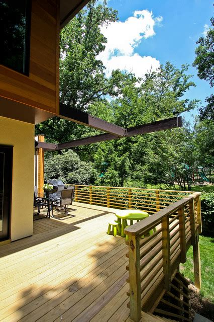 wooden terrace fence beautiful addition   house