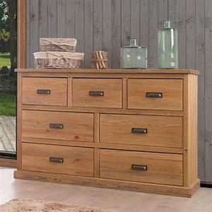 Commode En Pin : commode en bois 7 tiroirs en pin massif longueur 144 cm hank ~ Teatrodelosmanantiales.com Idées de Décoration
