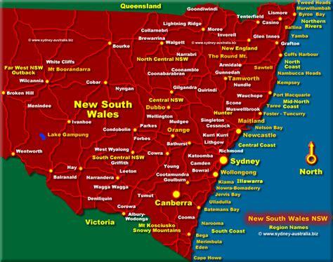 nsw map australia tourist guide