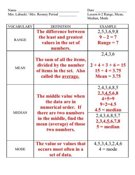 lesson 6 2 range median mode
