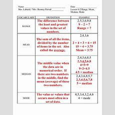 Lesson 6 2 Range, Mean, Median, Mode