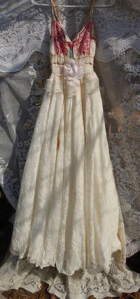 Vintage Opulence by Boho Wedding Dress Ivory Vintage Tulle Bohemian